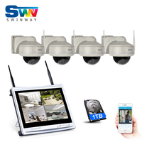 Newest Plug And Play 4CH HDMI NVR 12inch LCD Wireless CCTV System 960PHD Fixed Dome Vandalproof