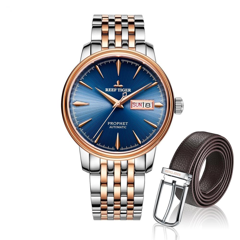 Reef Tiger Classic Prophet Blue Dial Two Tone Case Mens Automatic Watch And Leather Belts SetReef Tiger Classic Prophet Blue Dial Two Tone Case Mens Automatic Watch And Leather Belts Set