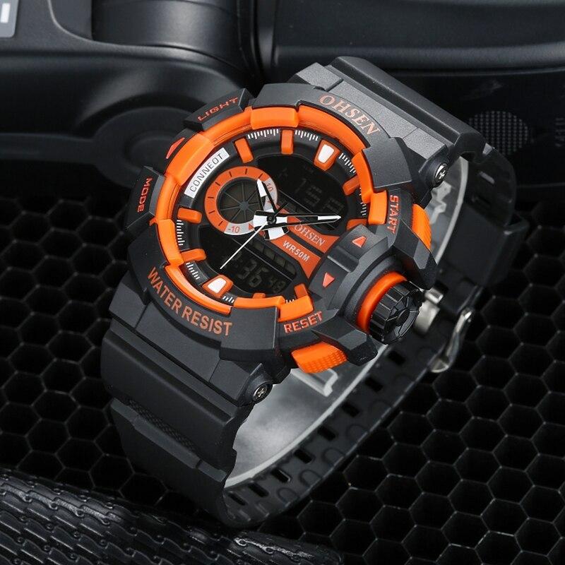 Dropshipping OHSEN Digital Quartz Fashion Mens Wristwatch Silicone Band Orange LCD Alarm Date Display 50m Waterproof Sport Watch