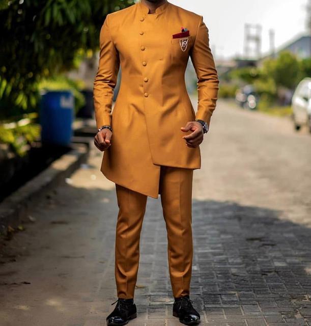 2019 חדש צהוב האחרון אופנה גברים Slim Fit נשף חליפות Custom הטוב ביותר גברים חתונה מסיבת טוקסידו תלבושות חליפות עיצובים בלייזר מכנסיים