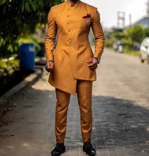 Esmoquin para fiesta de boda para hombre, traje ajustado para baile de graduación, personalizado, con diseños de chaqueta y pantalones, color amarillo, novedad de 2019