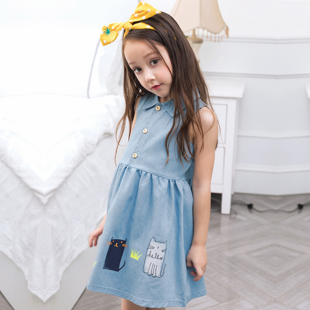 CN-RUBR England Style Girls Dress Summer Denim Children Clothes With Button Cartoon Cat Princess Party Kids Dresses For Girls