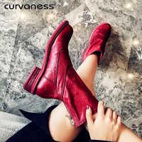 Botas cortas de cuero genuino zapatos de mujer de invierno hechos a mano costura suave suela zapatos perezosos botas planas rojo Beige negro talla 33 -42
