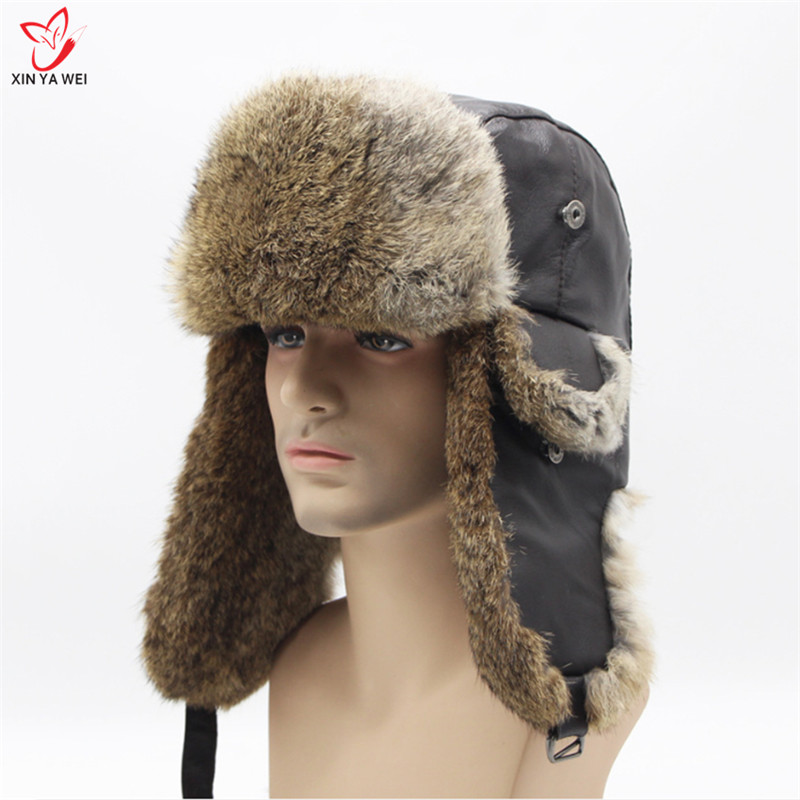 Free Shipping 2018 Real Rabbit Fur Russian Leather Bomber Hat Men Winter Keep Warm Hats With Earmuffs Trapper Earflap Cap Hats