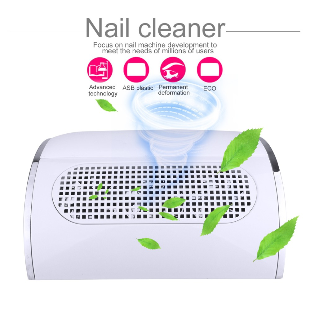 3 Fans Powerful Nail Dust Suction Fan Collector Vacuum Cleaner Beauty Machine with 2 Dust Collecting Bags Manicure Tools hthl powerful nail dust suction collector with 3 fan vacuum cleaner manicure tools with 2 dust collecting bags