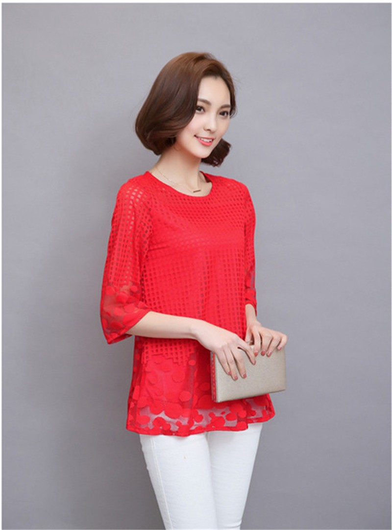 Plus Size 4XL 5XL 6XL  Luxury Lace O Neck  Women Blouse Shirt Noble Long Mesh sleeve Shirt Blouse Vintage tops Blusas Femininas (26)