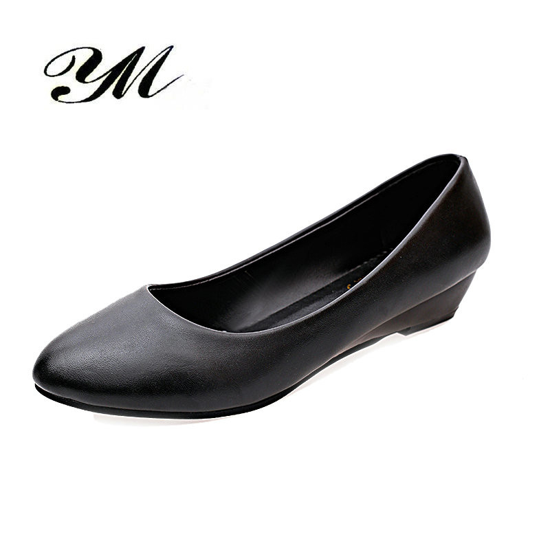 YM Women Shoes Pumps Classics Ladies Low Heel Nude Sexy High Heels Wedges Office & Caree Mom Nurse Shoes White non-slip Shoes