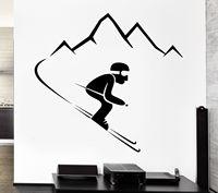 Sticker Alpine Ski Sports D'hiver Montagnes Autocollants En Vinyle Mur Art Tatouages Murale