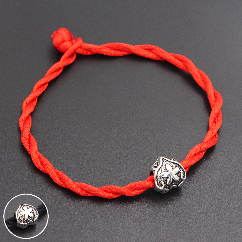 2020 New Five-leaf Flower Beads 4mm Red Thread String Bracelet Lucky Red Handmade Rope Charm Bracelet for Women Men Jewelry