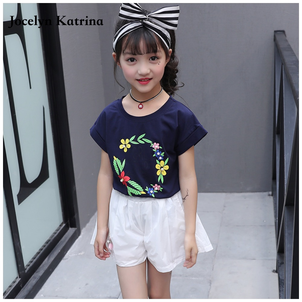 Baby girls summer sets 2017 style short sleeve t shirt + casual shorts kids tracksuit 2pcs set children suit clothes family fashion summer tops 2015 clothers short sleeve t shirt stripe navy style shirt clothes for mother dad and children