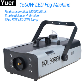 цена на 1500W LED Fog Machine With 6Pcs LED RGB 3IN1 Lamp Smoke Machine DJ Disco Wedding Stage Party Effect Lighting Fog Mist Machine