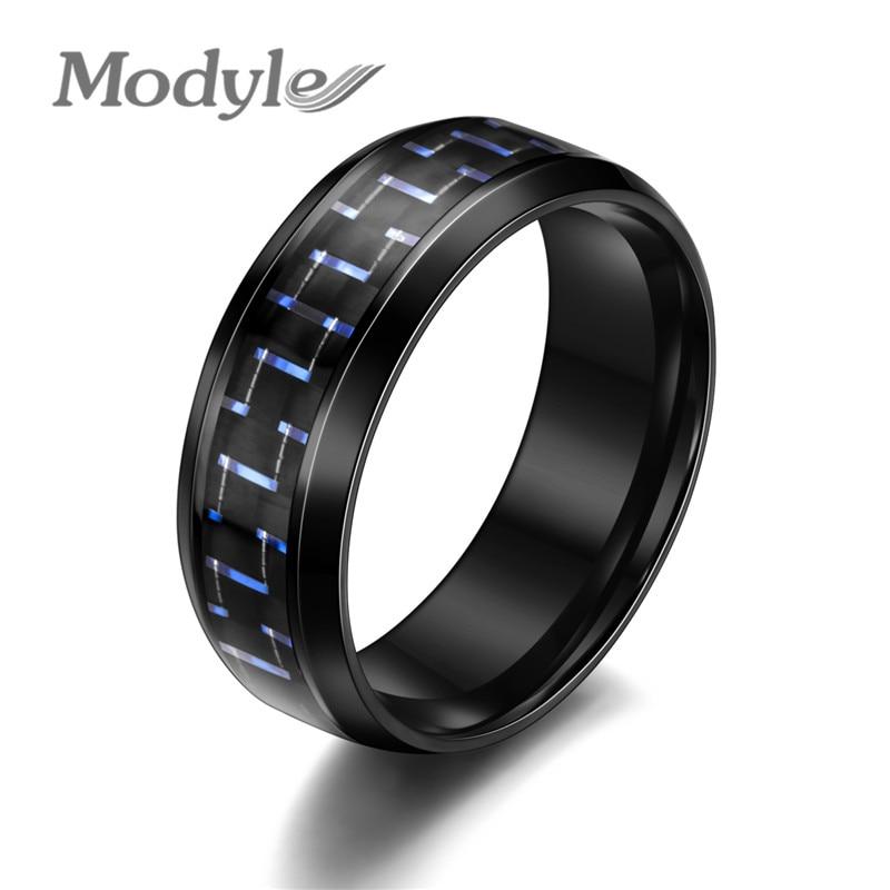 Modyle 2020 новый углеродного волокна простые мужские кольца 8 мм из нержавеющей стали 3 Цвета модные кольца ювелирные изделия