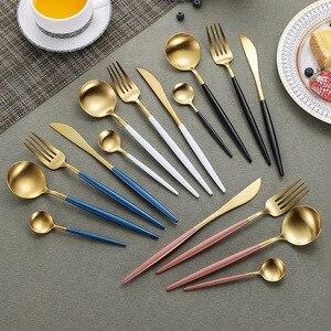 Image 1 - Juego de cubiertos de acero inoxidable 304, conjunto de cubiertos negro, conjunto de tenedor y cuchillo, vajilla, plato dorado, 24 unidades