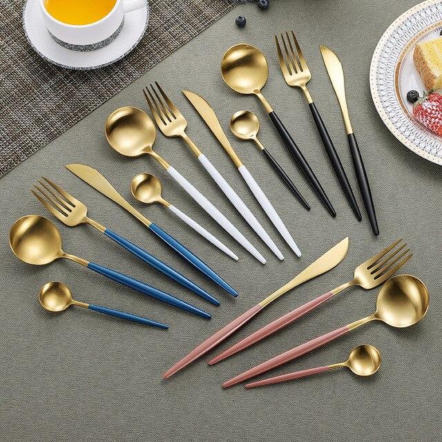 Juego de cubiertos de acero inoxidable 304, conjunto de cubiertos negro, conjunto de tenedor y cuchillo, vajilla, plato dorado, 24 unidades