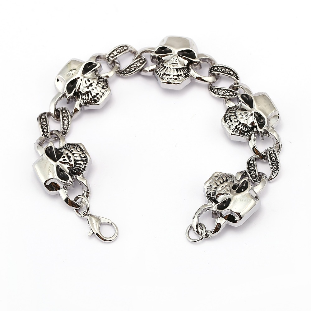 Alloy new design men punk black plated anique silver skull charm chain bracelet men fashion stainless steel man jewelry