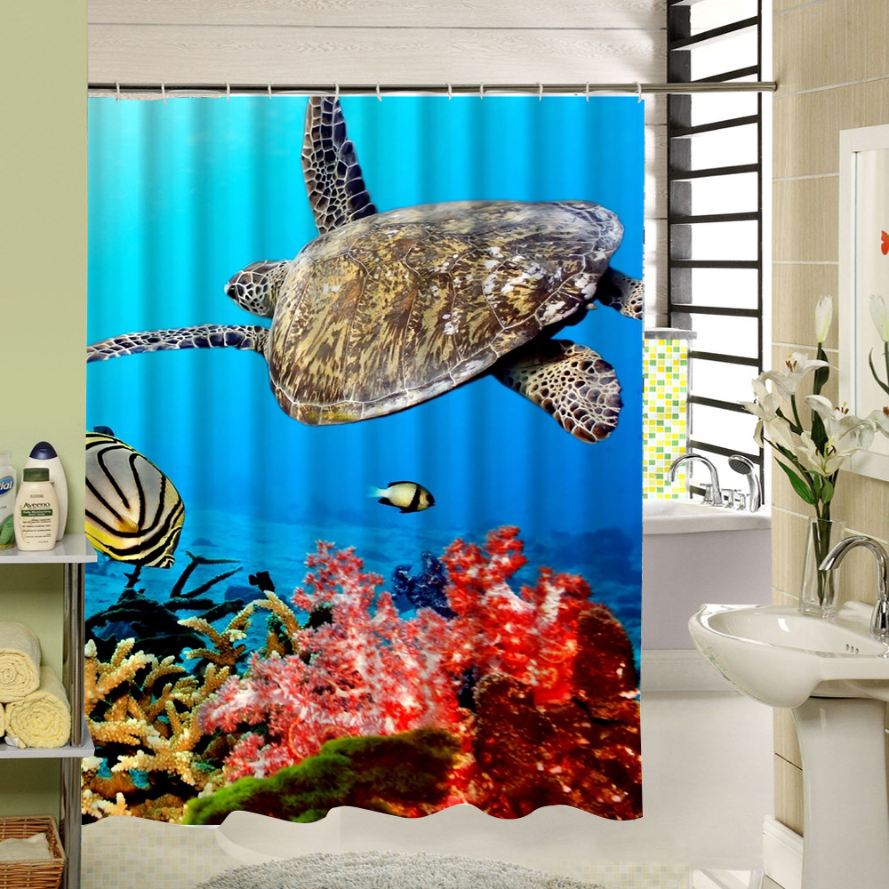 <font><b>Kids</b></font> Shower Curtain Polyester Fabric 3d Print Waterproof Bathroom Sea World Pattern Fish Turtle Custom Bathtub Liner Decor