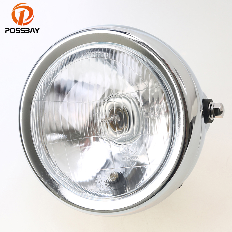 POSSBAY Retro Chrome Motorcycle Headlight Lamp Hight/Low Beam Amber Light Lamp Custom Bike For Suzuki GN 125 Harley Honda Yamaha