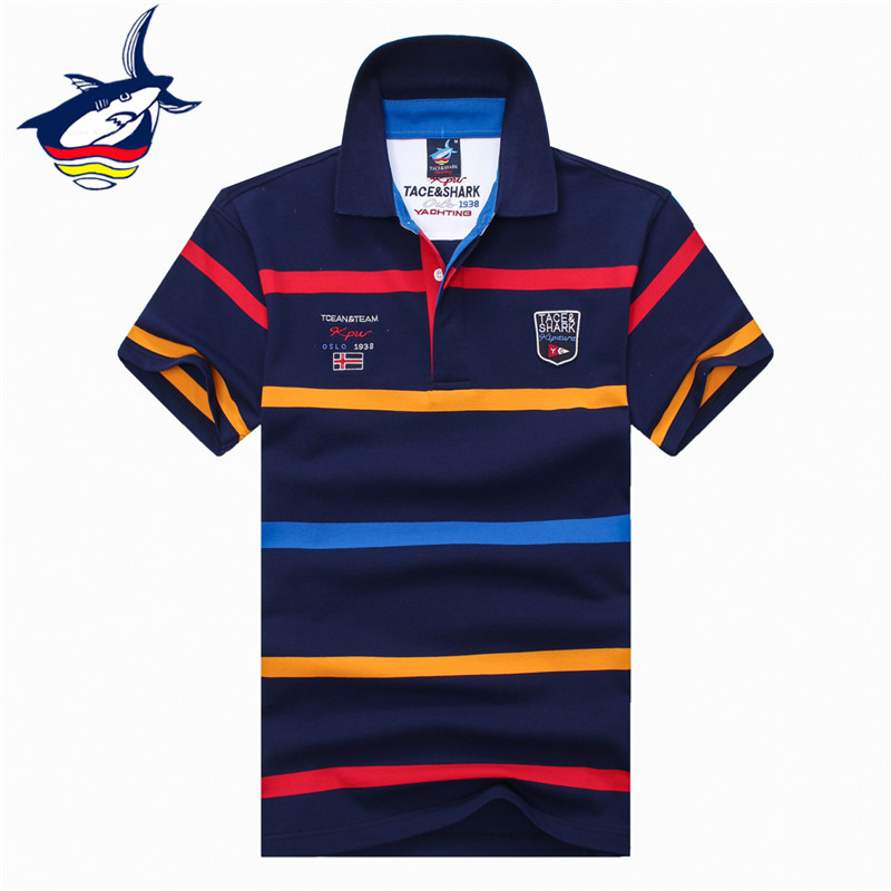 Tace & Shark   polos   para hombre striped camisa   polo   masculina brand men   polo   shirt Summer fashion style shark logo male tops tees