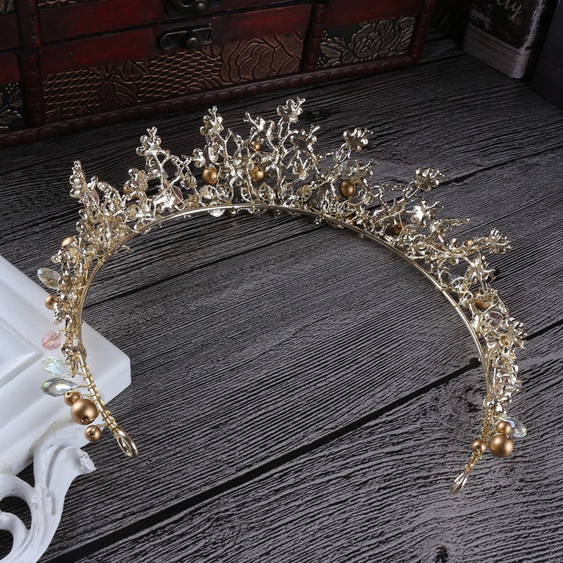 Luxury Pink Gold Pearl Bridal Crowns Handmade Tiara Bride Headband Crystal Wedding Diadem Queen Crown Wedding Hair Accessories 8