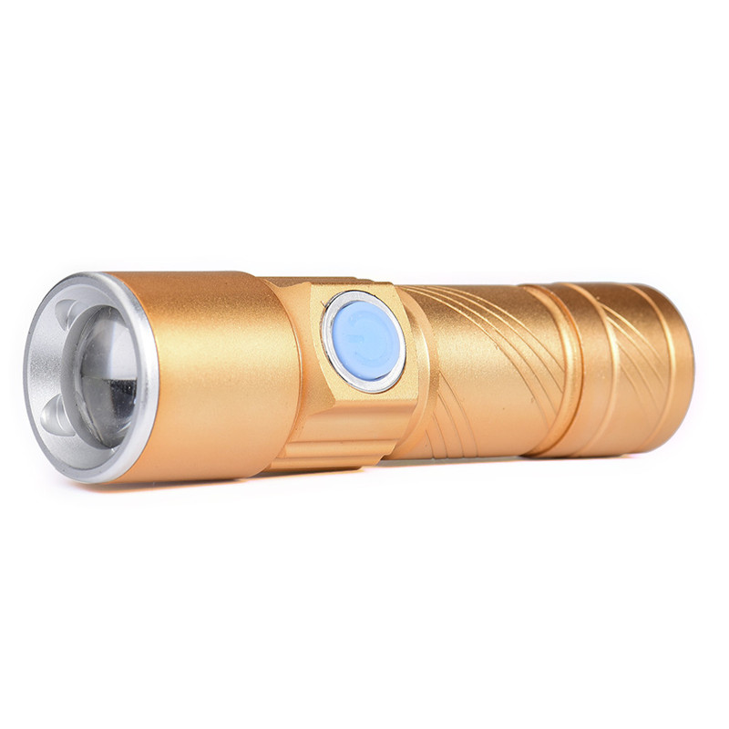 B2 USB Flashlight Light Bag Rechargeable Flashlight Zoomable Aluminum Alloy Lamp Bicycle Light Hiking Camping Hunting Durable