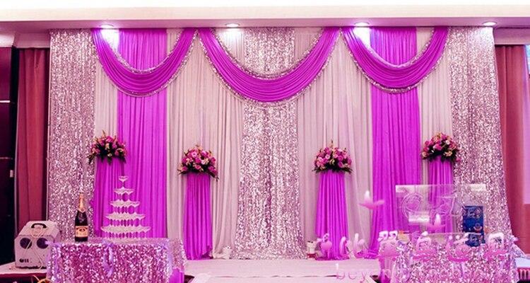 10 * 10Ft Express livraison gratuite 3x6 mètres glace soie scène de mariage décors décoration romantique mariage rideau avec swags paillettes