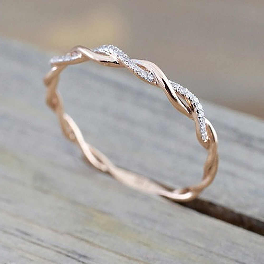 Round Rings For Women Thin Rose Gold Color Twist Rope Stacking Wedding Rings In Stainless Steel Bijoux