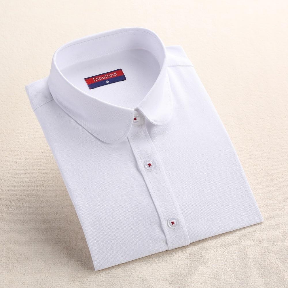 Dioufond Formale Bluse Frauen Weißes Hemd Baumwolle Büro Tops - Damenbekleidung - Foto 2