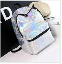 1 piece silver hologram laser back pack PU leather holographic daypack sac a dos mochila masculina schoolbag backpack