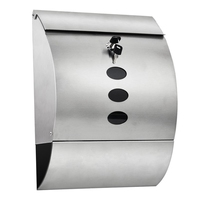 Waterproof Stainless Steel Lockable Mailbox Newspaper Holder Outdoor Mail Post Letter Box Silver