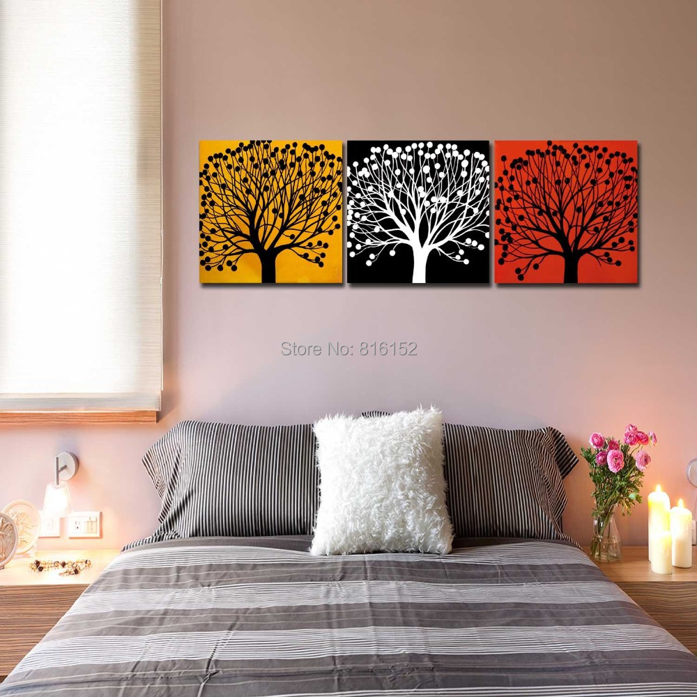 Aliexpress.com : Buy 3 Panels Wall Art Three Colors Tree HD Canvas ...