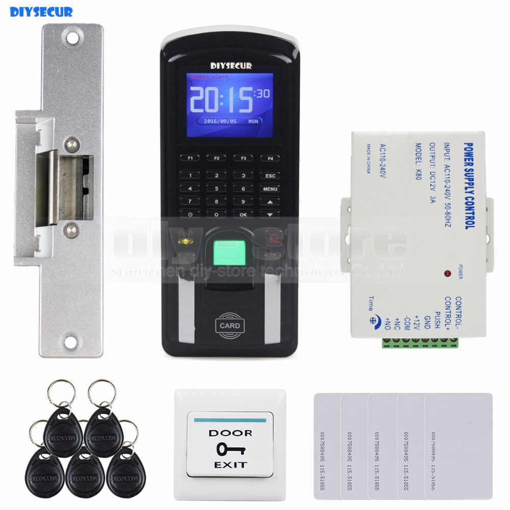 DIYSECUR Fingerprint 125KHz RFID Reader Password Keypad + Strike Lock Door Access Control System Kit for Office / House diysecur rfid keypad door access control security system kit electronic door lock for home office b100