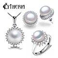 Cytheria 2016 nuevo conjunto de perlas naturales, sistemas de la joyería collar pendiente de plata perla y pendientes para mujeres con caja de regalo