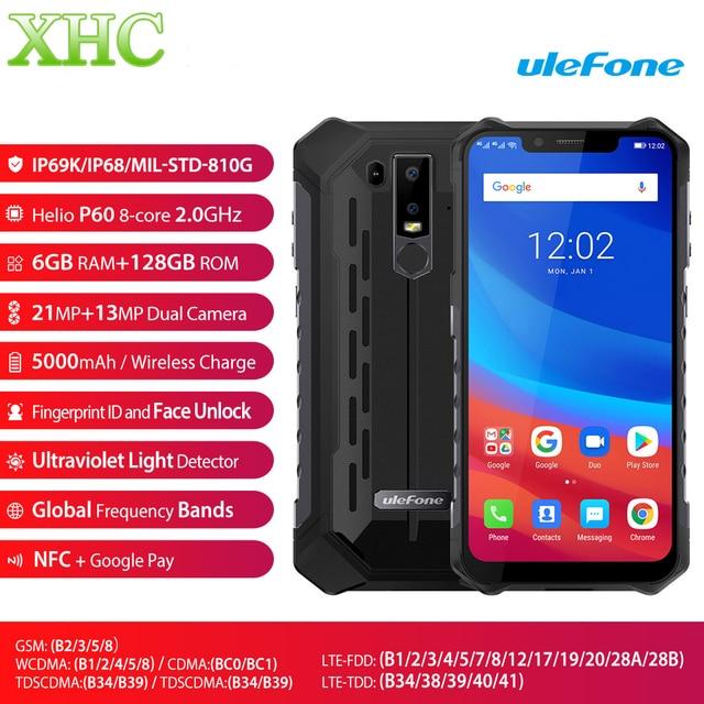 Ulefone Armor 6 Android 6.2 Mobile Phone 6GB 128GB Helio P60 Octa Core Fingerprint Wireless Charge NFC Dual SIM 4G Smartphone