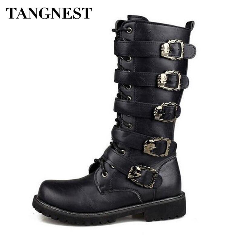 Tangnest/мужские армейские ботинки с металлической пряжкой, повседневные ботинки до середины икры из яловичного спилка в стиле милитари, Осенн...