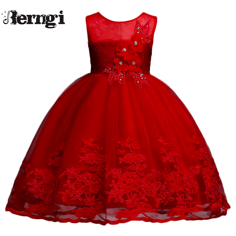 Berngi Girl Summer Lace Embroidery Dresses For Girls Elegant Wedding Princess Princess