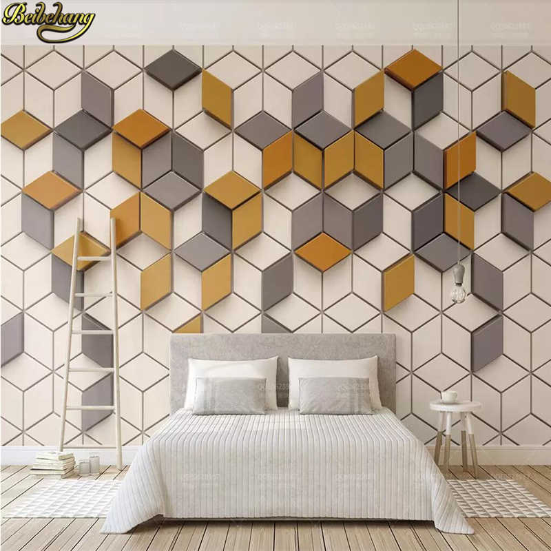 Beibehang Custom Yellow Mosaic Mural Living Room Office Wallpaper For Wall Papers Home Decor Photo Wallpapers