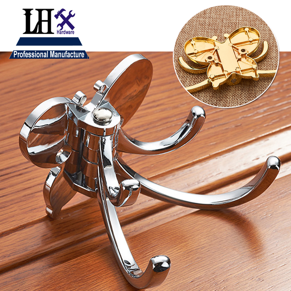 LHX XY133 Hook Wall Clothes Hanger Butterfly for Women Dress Handbag Man Jacket Bathroom Accessories Home Decoration DIY a asds butterfly folding hanger holder hook handbag bag rhinestone silver