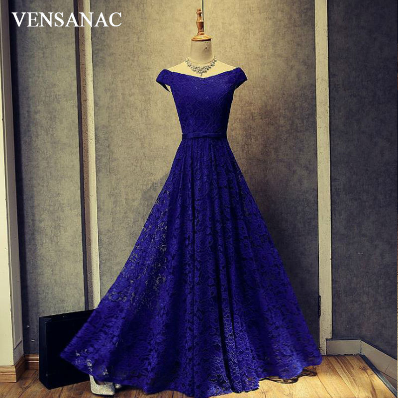 VENSANAC 2017 New A Line Embroidery Boat Neck Long   Evening     Dresses   Short Cap Sleeve Elegant Draped Sash Lace Party Prom Gowns