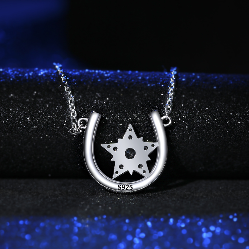 New Arrival Genuine 925 Sterling Silver Horseshoe Star Cubic Zirconia Pendant Necklaces For Women Silver Jewelry Lover Gift in Pendant Necklaces from Jewelry Accessories