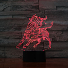 bullfighting LED Night Light 3D Illusion 7 Color Changing Decorative Light Child Kids Girl Gift Animals Desk Night Lamp Cattle