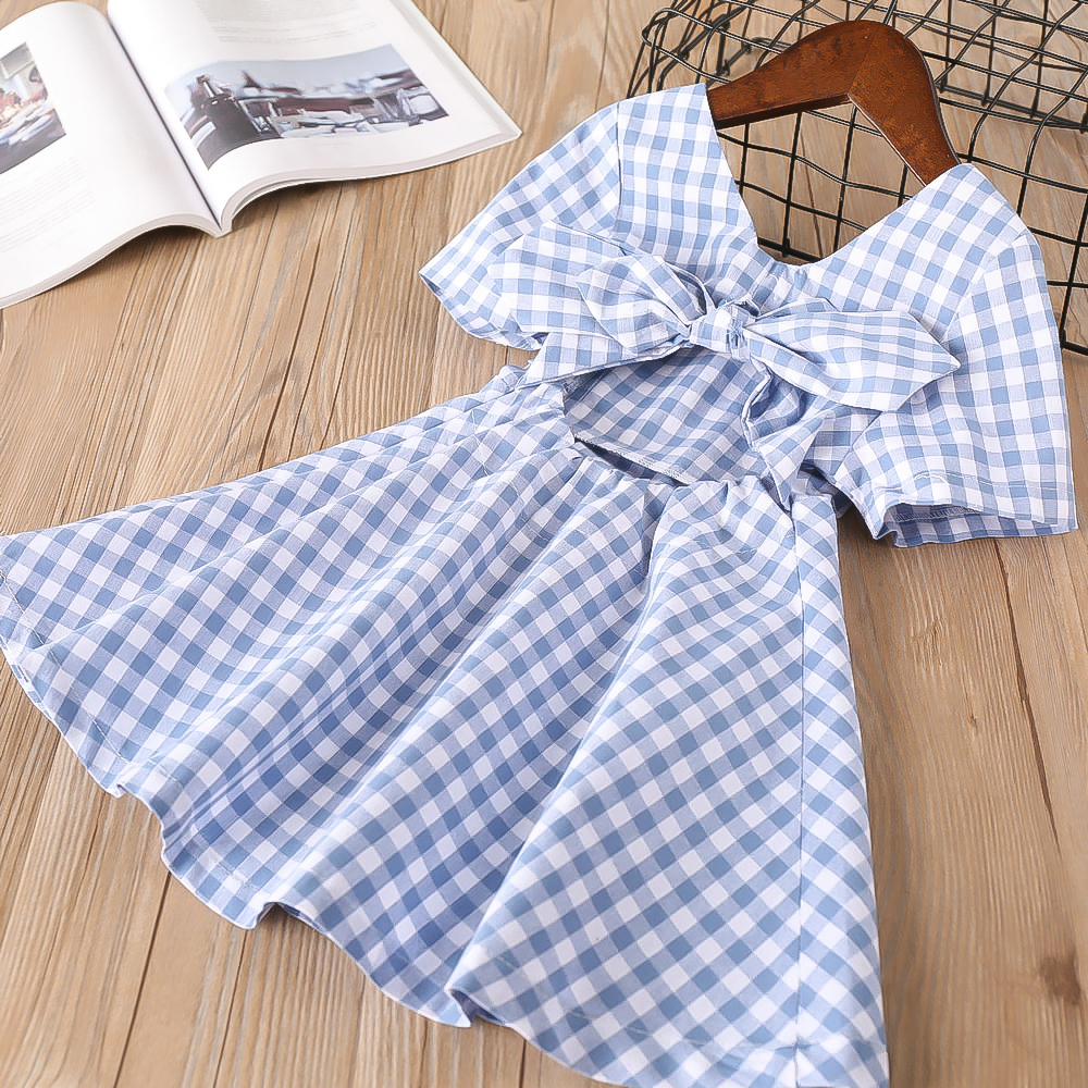 Hurave 2018 New baby Girl clothes Summer short sleeve dress Kids Clothes square collar Casual plaid strapless bow dresses