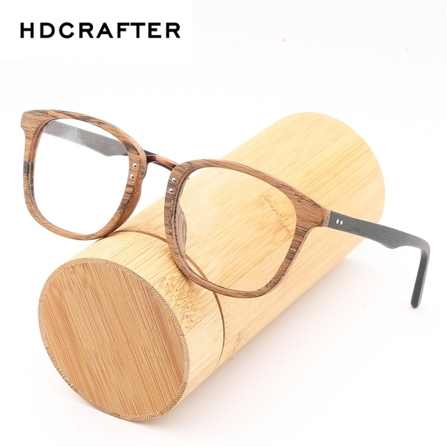 6ac3d1bb909 HDCRAFTER Eyewear Frames Women Wooden Vintage Clear Lens Wood Glasses Men  Computer Reading Glasses Frame for