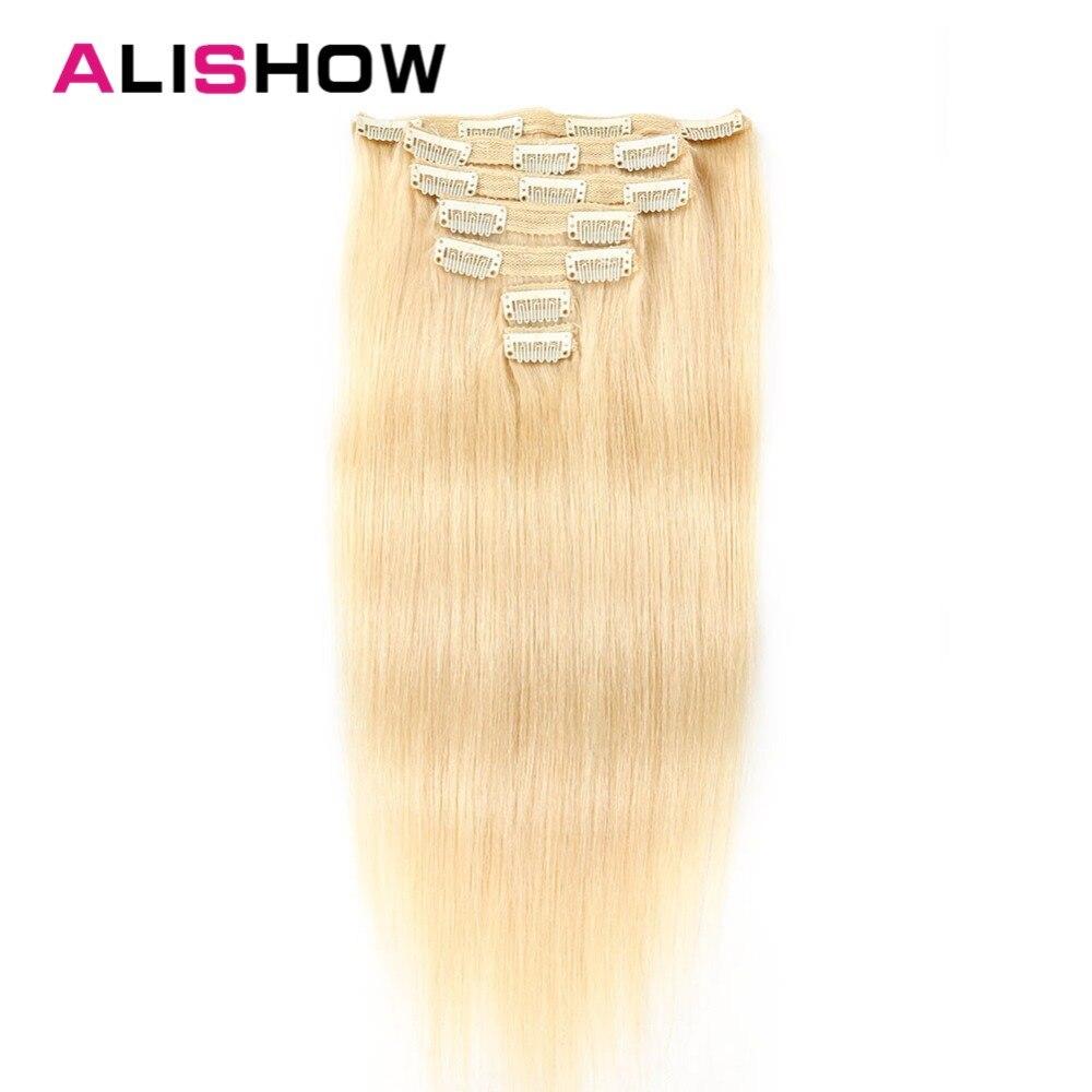 Alishow Doppel Gezogen Clip In Menschliches Haar Extensions Seidige Gerade Remy Haar 7 Stücke 100% Real Menschliches Haar Clips Vollen Kopf 100 G-160g Mild And Mellow