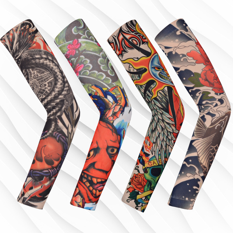 Seamless Flower Arm Tattoo Cuff Outdoor Sun Protection Riding Icy Sleeve Tattoos Arm Sleeve Arm Set-1