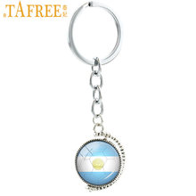TAFREE Ball fans key chain double sides Argentina football team keychain City Map London Dallas Denver men women jewelry N487(China)