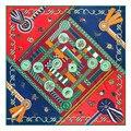 Геометрические Дамы дизайнер высокого качества тощий шарф площади пашмины плед шарфы китайские шелковые шарфы для женщин 130*130 см