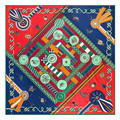 Geometric Ladies designer high quality skinny scarf square pashmina plaid scarfs chinese silk scarves for women female 130*130cm