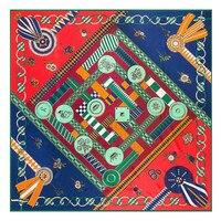 Geometric Ladies Designer High Quality Skinny Scarf Square Pashmina Plaid Scarfs Chinese Silk Scarves For Women