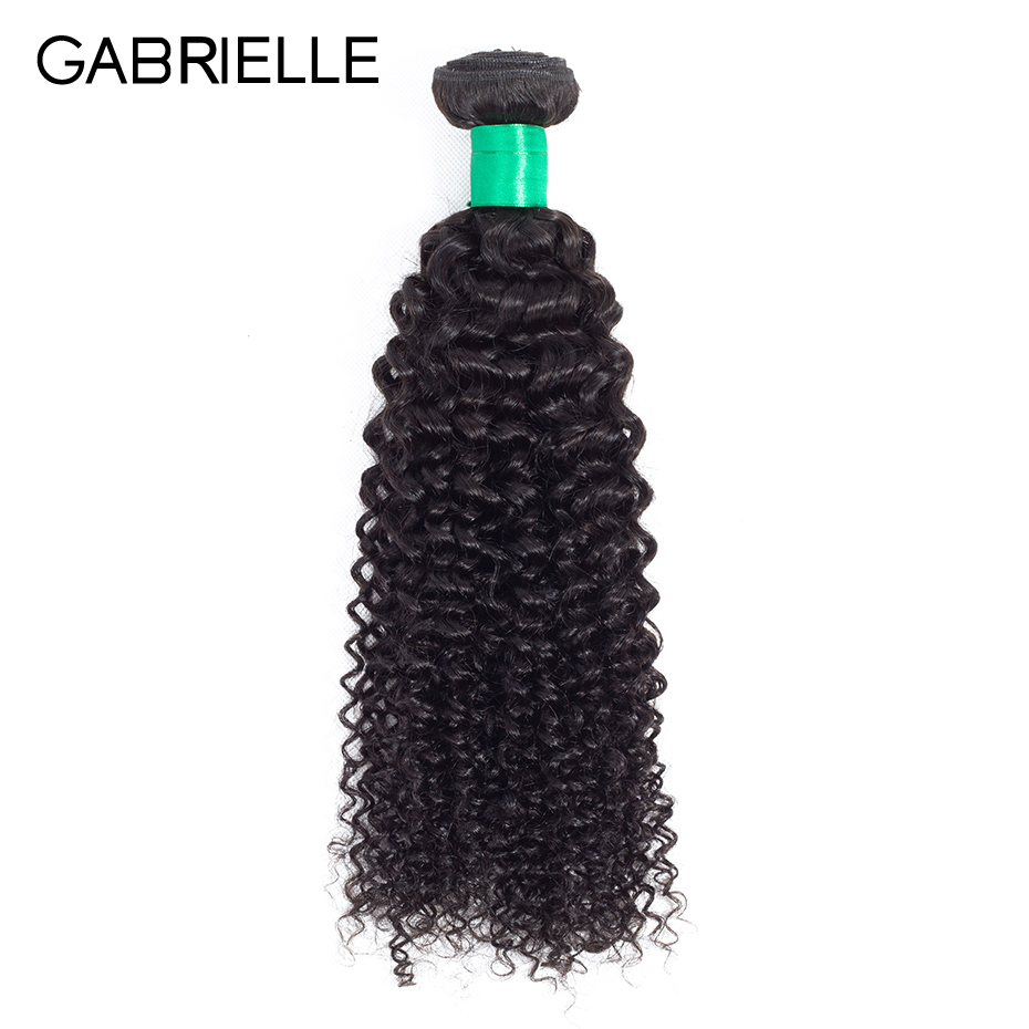Gabrielle Indian Human Hair Kinky Curly Bundles One Piece Natural Black Color Non Remy Hair Weaves 8-26 inches Free Shipping