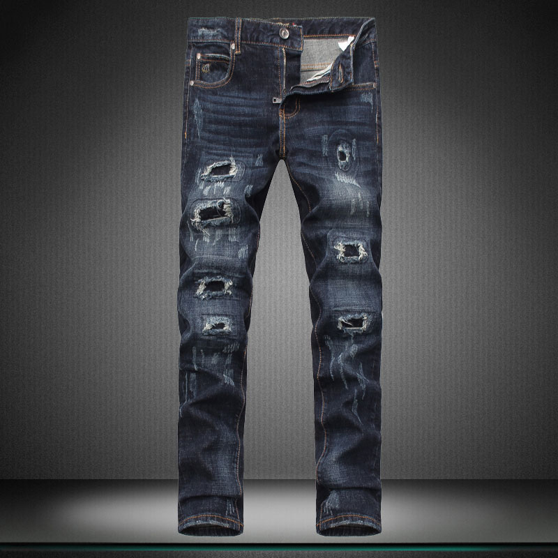 Top quality designer new boy mens jeans men brand pants trousers hole Little feet pants biker